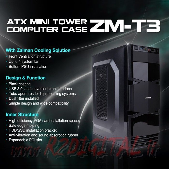 CASE ZALMAN T3 MIDDLE TOWER ATX mATX USB 3.0 120mm FAN SILENT HD