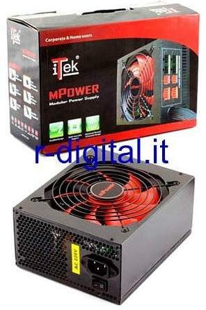ALIMENTATORE PC ITEK MPOWER ATX 720 WATT MODULARE FAN 14cm 24Pin