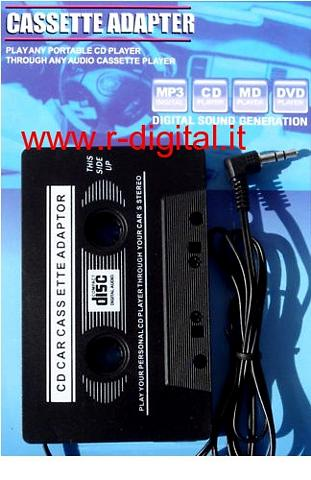 ADATTATORE AUTO PER CASSETTE AUDIO J 3.5mm MP3 CD DVD MP4 IPOD
