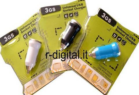ALIMENTATORE USB MINI CARICABATTERIE AUTO LED IPHONE IPOD MP4