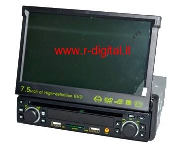 "AUTORADIO MONITOR LCD 7,5"" DVD CD FM MP4 MP3 DIVX USB SD GAME"