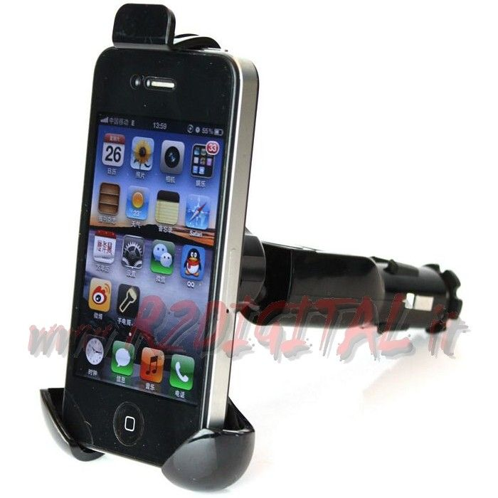 SUPPORTO AUTO ACCENDISIGARI SMARTPHONE CARICATORE USB 1.5 IPHONE
