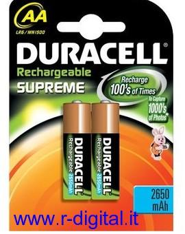 BATTERIE AA 2450mAh DURACELL STILO RICARICABILI SUPREME CHARGE