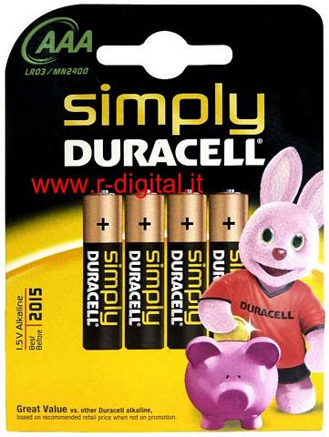 BATTERIE DURACELL SIMPLY 4Pz AAA MINI STILO ALCALINE 1,5V