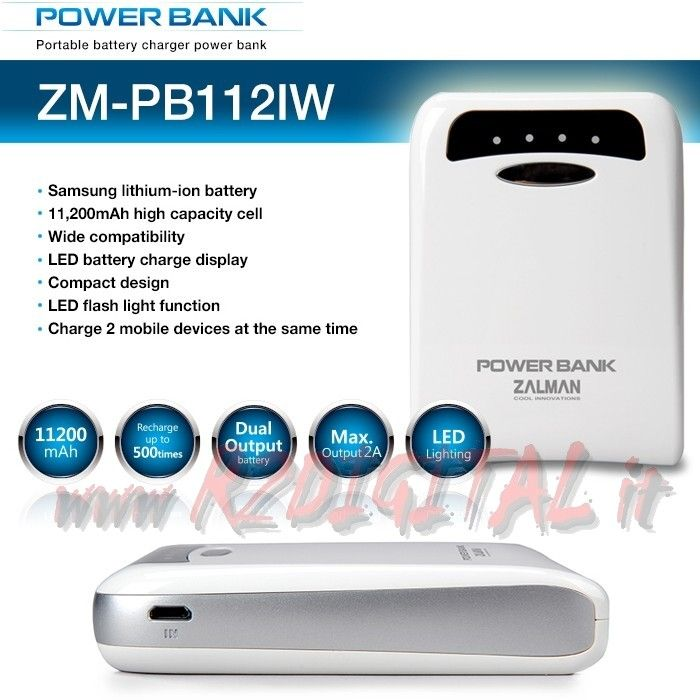 BATTERIA ZALMAN PB112I 11200m EMERGENZA POWER BANK APPLE SAMSUNG