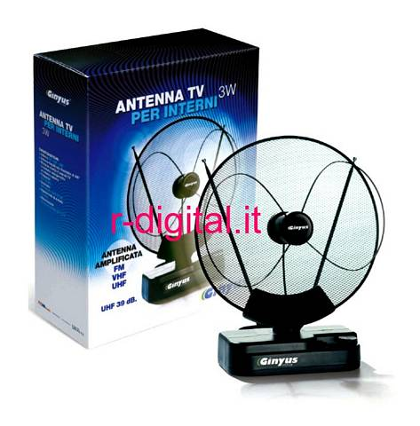 ANTENNA TV GINYUS UHF 3W 39 dB DIGITALE TERRESTRE AMPLIFICATA