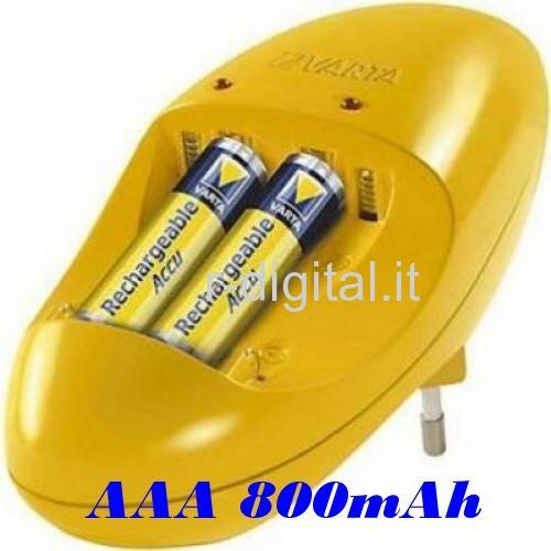 KIT CARICABATTERIE VARTA + 2 BATTERIE MINI STILO AAA 800mAh