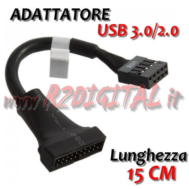 USB 3.0 20-Pin Male To USB 2.0 9-Pin Motherboard Header Female Adapter Cable KWC