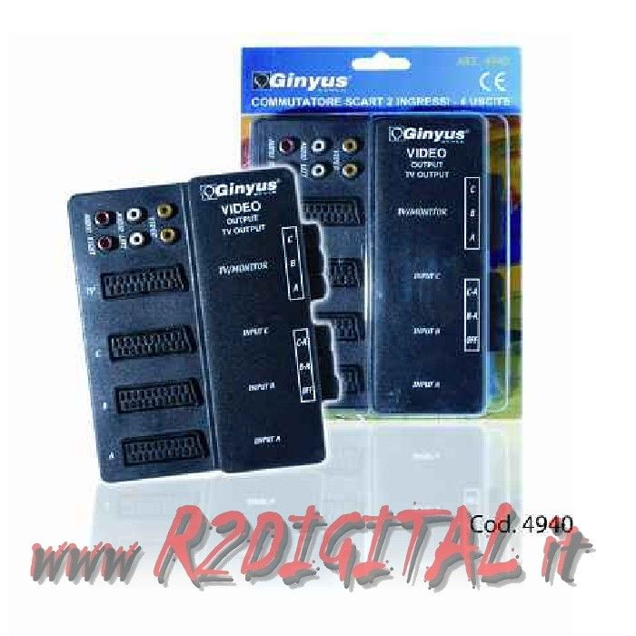 COMMUTATORE SWITCH GINYUS SDOPPIATORE MULTI SCART AUDIO PRESA