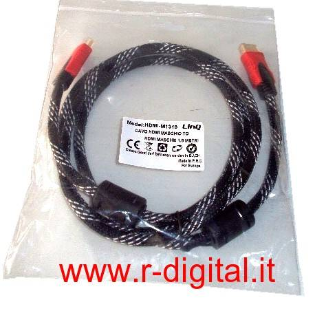 CAVO HDMI FULL HD 1080P GOLD 1,5m IN TESSUTO ALTA QUALITA PS3