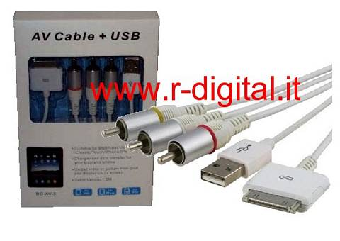 CAVO RCA AUDIO VIDEO AV + USB APPLE IPHONE 3G 3Gs 4G IPAD 2 IPOD