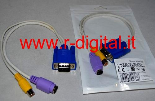 CAVO AUDIO VIDEO da VGA MASCHIO 15P a SUPER VIDEO AV SVIDEO 25cm