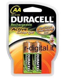 BATTERIE AA 2000mAh DURACELL STILO RICARICABILI ACTIVE CHARGE