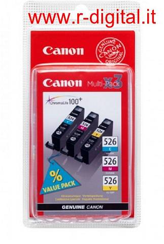 CANON CLI 526 PACK C/M/Y CARTUCCE n3 COLORI PIXMA MG8150 MG5250