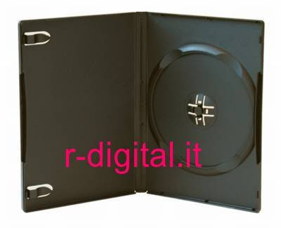 CUSTODIA 1 POSTO SLIM DVD CD GRANDE NERA BOX PORTA COVER