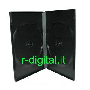 CUSTODIA 2 POSTI DVD CD GRANDE NERA BOX PORTA COVER