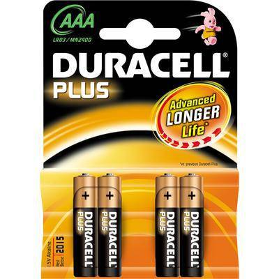 BATTERIE DURACELL PLUS 4Pz AAA MINI STILO ALCALINE 1,5V