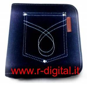 BORSA TECHMADE MCD-8040 PORTA CD DVD CUSTODIA IN JEANS 24 Pz