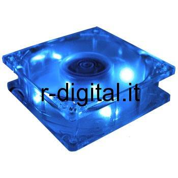 VENTOLA 120 mm 120x120x25 LED BLU TACHIMETRICA SLEEVE BEARING PC