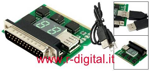SCHEDA USB MINI PCI TESTER DIAGNOSTICA ANALIZZA NOTEBOOK PC