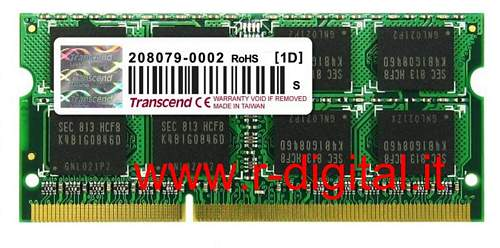 TRANSCEND DDR3 4GB MEMORIA RAM SODIMM 1333MHZ NOTEBOOK PC3 CL9