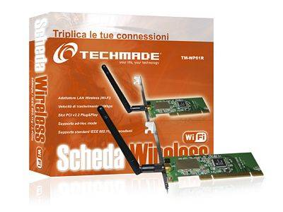 SCHEDA DI RETE TECHMADE WIFI WIRELESS 54 Mbts PCI ORIENTABILE