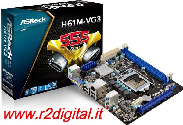 SCHEDA MADRE ASROCK H61M-VG3 INTEL SK 1155 mATX SATA DDR3 VIDEO