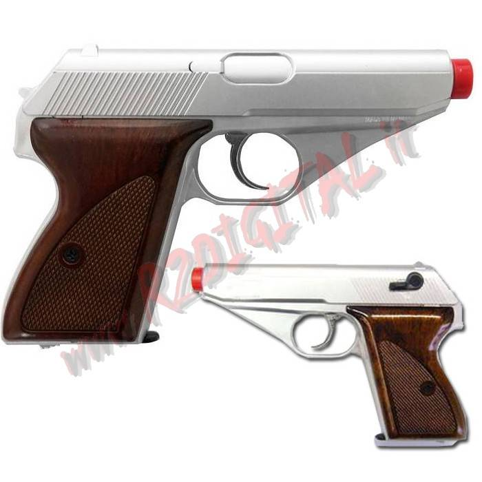 PISTOLA GREEN GAS MAUSER SILVER WOOD HFC HG-106S 6mm HOP UP