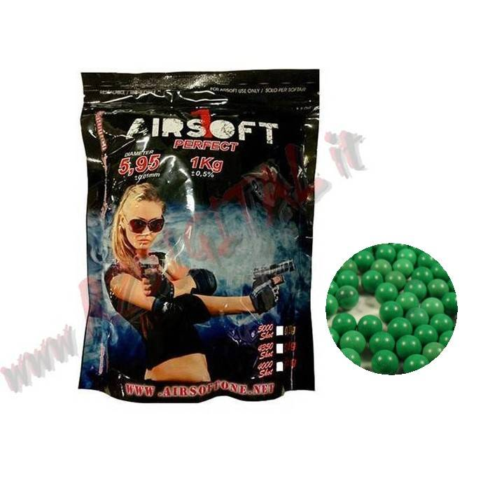 PALLINI BUSTA AIRSOFT ONE VERDI 1Kg 4350Pz BB 0.23 PLASTICA 6mm