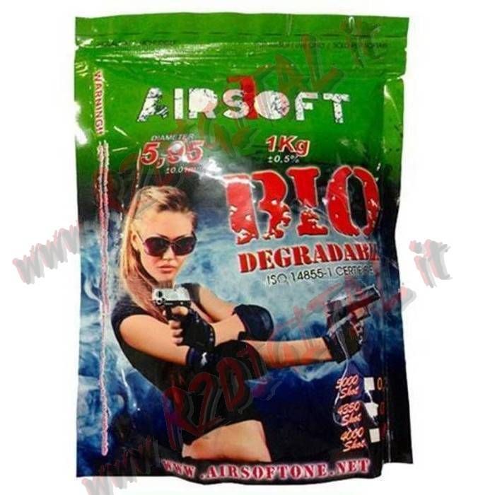 PALLINI BUSTA AIRSOFT ONE BIO 1Kg 5000Pz BB 0.20 PLASTICA 6m AIR