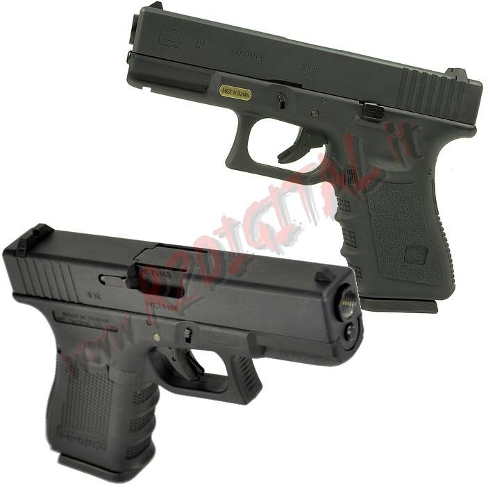 PISTOLA GREEN GAS GLOCK G19 WE NERA TAN SCARRELLANTE