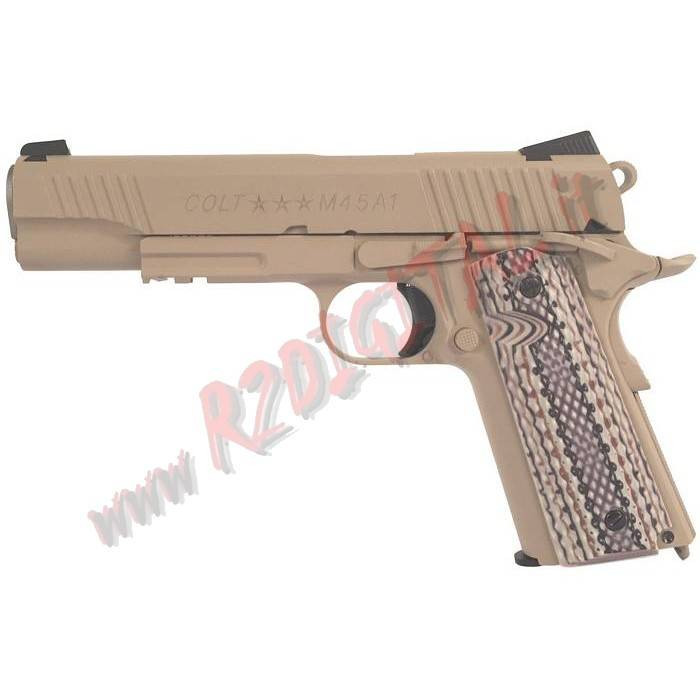 PISTOLA CO2 COLT 1911 M45A1 CYBERGUN TAN METAL 6mm SOFTAIR