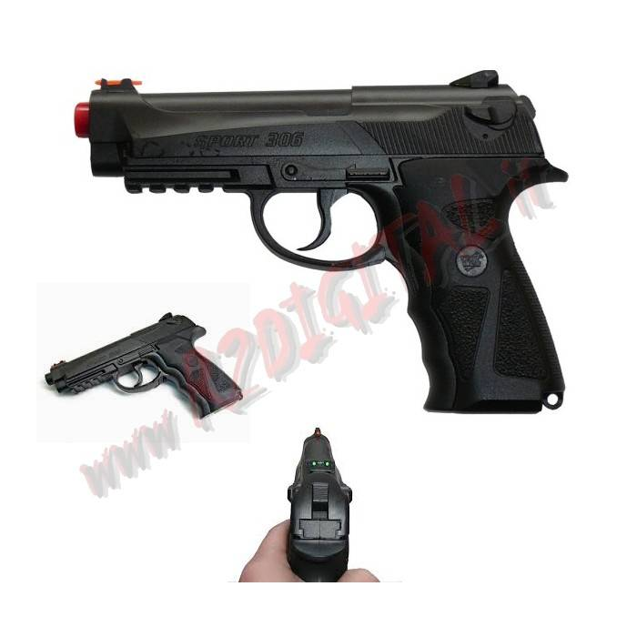 PISTOLA CO2 BERETTA 92 FS WIN GUN C306 TACTICAL 6mm SOFTAIR
