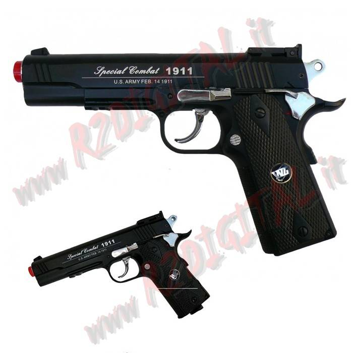 PISTOLA CO2 SPECIAL COMBAT 1911A1 WIN GUN C600B 6m METAL SOFTAIR