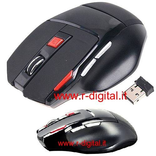 MOUSE GAMING 7 TASTI WIRELESS OTTICO USB WIFI NANO 2000DPI GIOCO