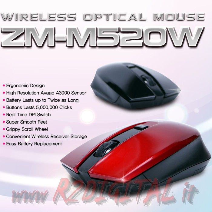 MOUSE GAMING ZALMAN ZM-M520W WIRELESS DA GIOCO 1600dpi REALI