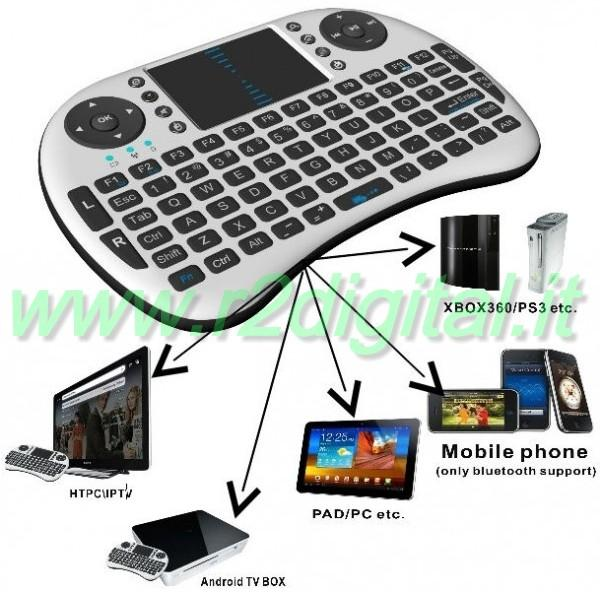MINI TASTIERA WIRELESS MEDIA CENTER TOUCHPAD PC PS3 XBOX ANDROID - Clicca l'immagine per chiudere