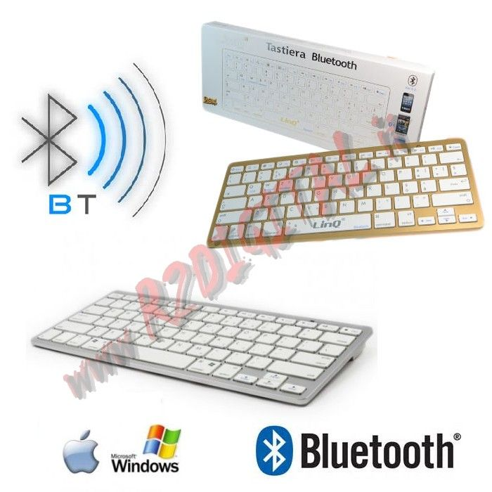 TASTIERA SLIM BLUETOOTH BIANCO ULTRA SOTTILE APPLE iMAC STYLE