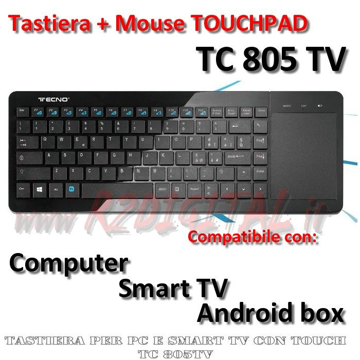 TASTIERA WIFI TC805TV TOUCHPAD SMART TV MEDIA CENTER ANDROID BOX