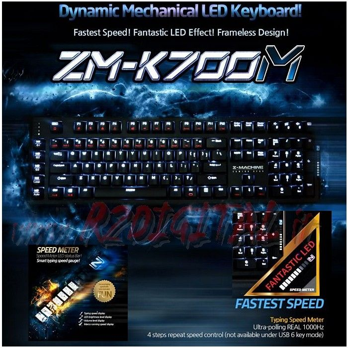 TASTIERA ZALMAN ZM-K700M GAMING SPEED METER MECCANICA LED USB PC