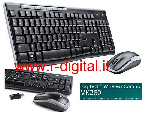 KIT TASTIERA MOUSE LOGITECH MK260 WIRELESS 2.4GHz PENNA WIFI USB