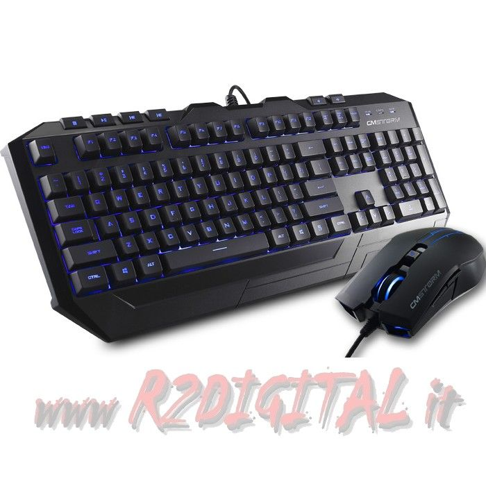 KIT TASTIERA MOUSE COOLER MASTER DEVASTATOR MB LED BLU VERDE USB