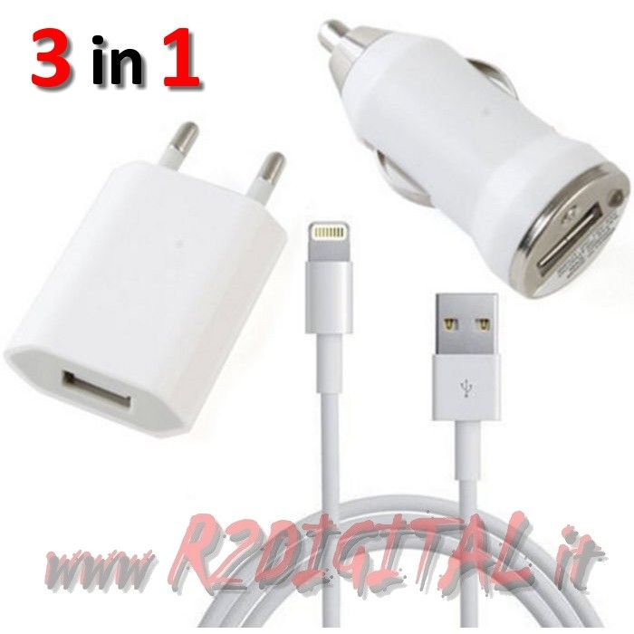 3in1 CAVO DATI IPHONE 5 USB CARICABATTERIE CASA AUTO CARICATORE