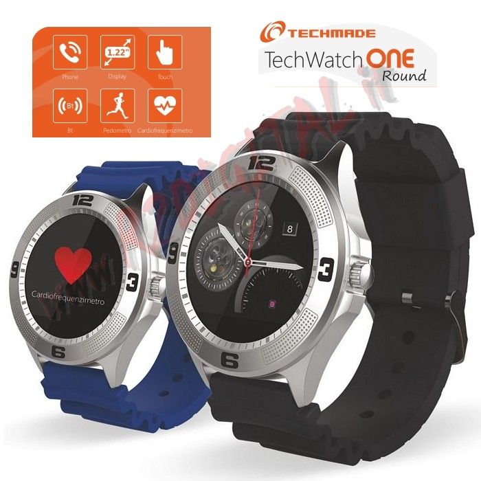 "TechWatchONE Display 1.22"" Bluetooth con Cinturino in Gomma"