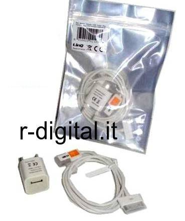 2 in1 CAVO DATI IPHONE 4G 3G 3GS USB + CARICABATTERIE RETE CASA