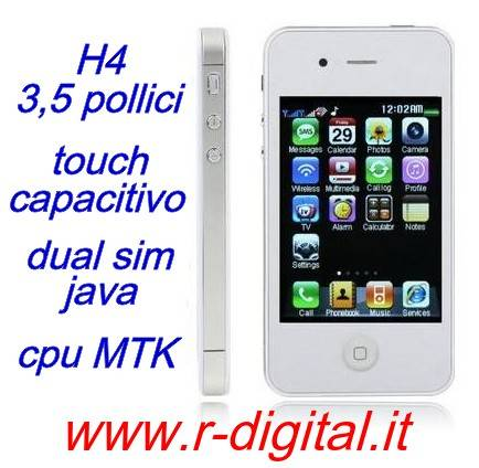 TELEFONO CELLULARE CECT H4 CAPACITIVO IPHONE 4 WIFI 4S DUAL SIM