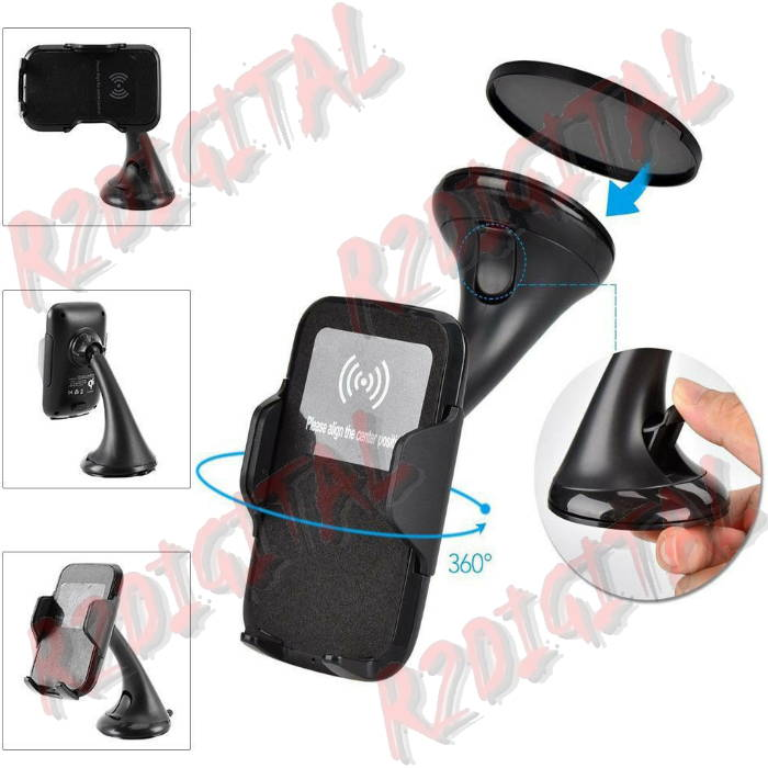 SUPPORTO AUTO con VENTOSA con CARICATORE WIRELESS QI SMARTPHON