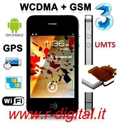 TELEFONO CELLULARE W007 ANDROID 4 CAPACITIVO IPHONE 4S GPS UMTS