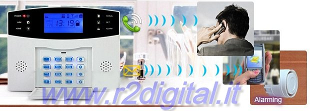 KIT ANTIFURTO SENZA FILI WIRELESS COMBINATORE TELEFONICO GSM PIR