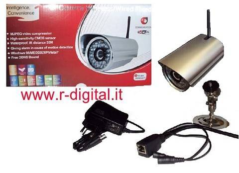 TELECAMERA IP CAMERA WIRELESS WIFI SORVEGLIANZA INFRAROSSI LED